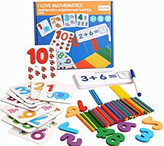 Alyasameen 3D Seeing and Matching Mathematics Learning Toys Puzzles Wooden Sticks Addition and Subtraction Sight Numbers G...