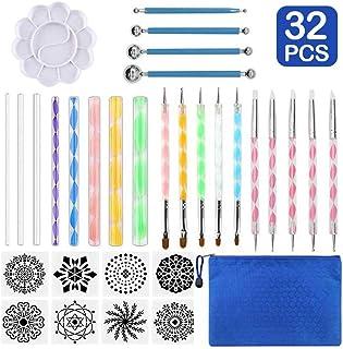 Latocos Juego de 32 Herramientas de Pintura de Mandala Mandala Dotting Herramientas Kits de Pintura para Pintar Rocas DIY Mandala Arte Crafts Set para Manualidades de Niños