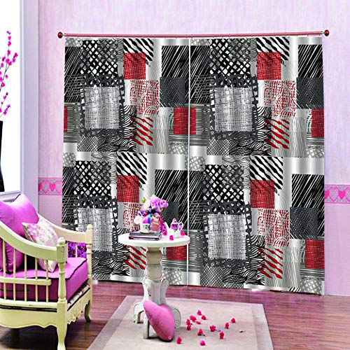 cortinas salon rojas y negras