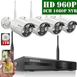 【2020 Nuevo】Sistema de Cámara Inalámbrica de Seguridad Interior/Exterior 8 Canal 1080P NVR Kit 4 960P IP Cámaras de Videovigilancia WiFi Exterior con Alarma de Detección de Movimiento 1TB Disco Duro