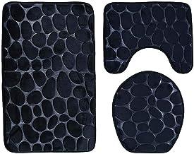 ESUPPORT Bathroom Mat Set 3pcs Soft Non Slip Bath Mat Rug, Toilet Lid Cover, U Shaped Contour Rug Carpet Stone Texture Pat...