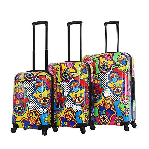Mia Toro Italy-Hamsa Love Multicolor Hard Side Spinner Luggage 3pc Set, One Size