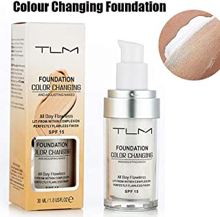 TLM Colour Changing Foundation, Flawless Color Changing Foundation Makeup Base Moisturizing Liquid Foundation for Women Girls SPF15, Sunscreen, Non-greasy, Non-marking, Long lasting(1Pack)