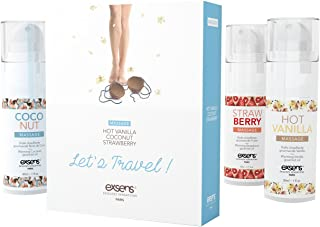 Let's Travel! Kit by EXSENS   Warming Gourmet Massage Oil   Strawberry, Coconut, Vanilla