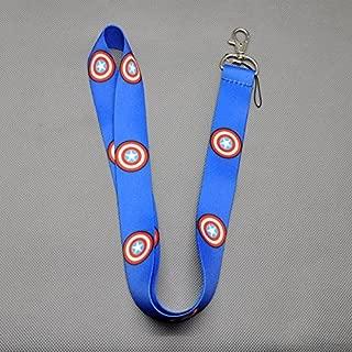 The Avengers Lanyard Keychain Holder Key Card ID Holders Badge Neck Lanyard String Straps (Blue-Captain America)