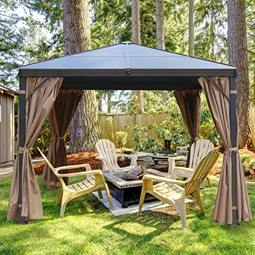 MASTERCANOPY Hardtop Gazebo Patio Polycarbonate Gazebo with Brown Mosquito Netting Screen Walls Curtains,DL-041(10FT×10FT)