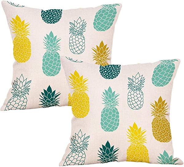 Xhonp Pineapple Pillow Cover Summer Beach Decorative Throw Pillowcase For Sofa Couch 18 X 18 Inch Cotton Linen Set Of 2