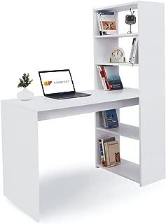 COMIFORT T08B - Escritorios y Estantería Reversible Mesa de Ordenador Juvenil o para Oficina 120x52x72/144 cm Color Blanco