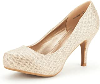 DREAM PAIRS Tiffany Women's New Classic Elegant Versatile Low Stiletto Heel Dress Platform Pumps Shoes