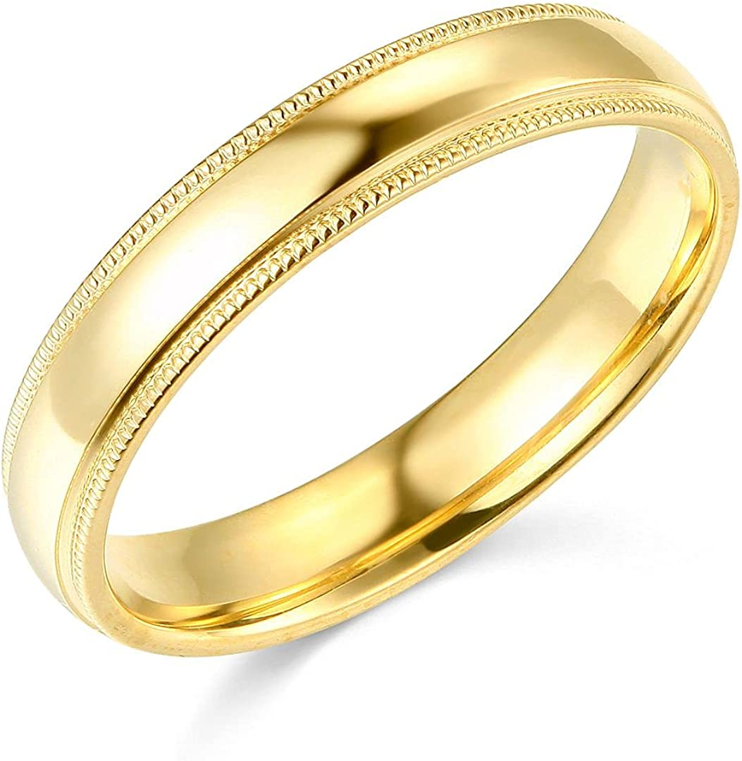 14k Yellow OR White Gold 4mm Plain Milgrain Wedding Band