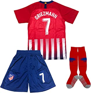 GLL SPORT #7 Griezmann New 2018/2019 Season Atletico Madrid Home Kids Shirt Soccer Football Jersey & Short & Socks Sport Kit for Youth Kids