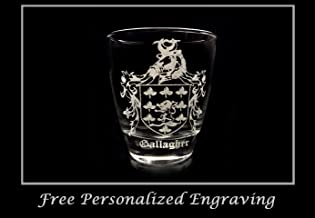 Gallagher Irish Family Coat of Arms Clear Lowball Rocks Glass 10oz - Free Personalized Engraving, Celtic Decor, Irish Glass