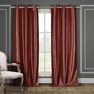 Duck River Textile Daenerys Faux Silk Grommet Top Window Curtain 2 Panel Set, 38 X 84, Wine
