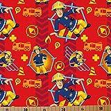 Loopomio Jersey Stoffe Feuerwehrmann_Sam rot 0,50m x VB