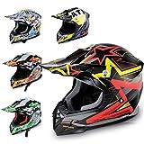 Hecht Motocrosshelm 55915 Motorrad-Helm Enduro ABS Quadhelm (S (55-56 cm), schwarz/rot/gelb)