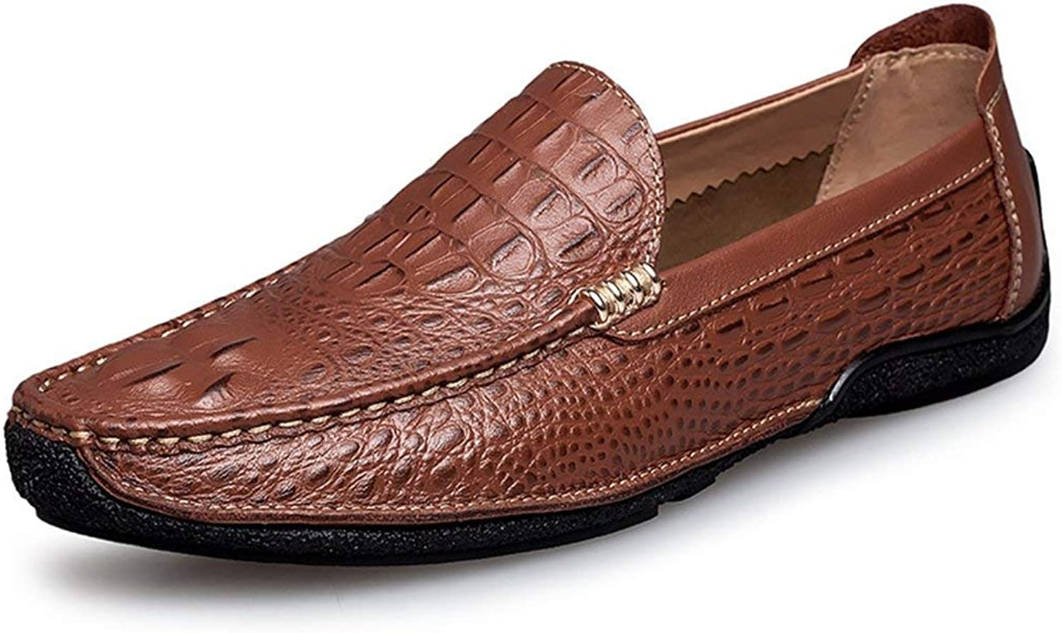 Qiusa Boy's Herren Snake braun Stilvolle Slip-on Casual Loafers UK 8 (Farbe   -, Gre   -)