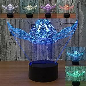 Sea Turtle 3D Illusion Lamp Optical Color Changing Led Desk Night Light Kids Bedroom Nursery Decor