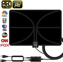 HDTV Antenna, 2019 New Indoor Digital TV Antenna 120 Miles Range with Amplifier Signal Booster 4K Free Local Channels Support All Television -17ft Coax Cable