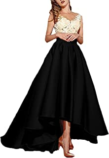 Women's High Low Lace Prom Evening Dresses Long Pleated Formal Gown