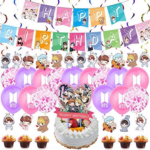 NALCY BTS Birthday Party Supplies, 47 Stück BTS Geburtstag Flagge Stern Kuchen mit koreanischem Idol Geburtstag Anzug, K-POP BTS Banner Cake Topper Balloons Birthday Party Supplies für A.R.M.Y Fans