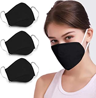 DDY (Ship from USA) 3PCS Cotton Reusable Anti Dust Face Mouth for Cycling Camping Travel (Black)