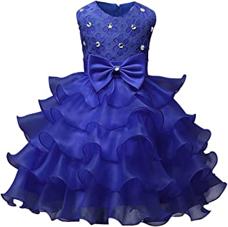 Clearance! Kids Girls Lace Floral Ruffles Princess Wedding Tutu Dresses Costume Formal Pageant Dress Ball Gown