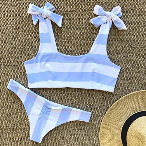 GUOZI Bikini Bikini Nieuwe Blauw En Wit Gestreepte Zwemkleding Dames Badpak Knot Bikini