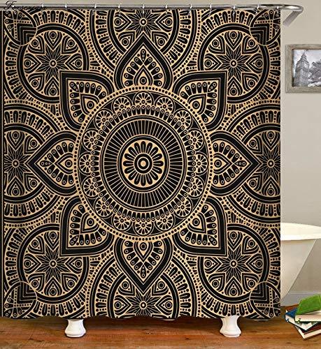 N / A Geometrischer Duschvorhang Stoff 3D Bad Duschvorhang Bad Duschvorhang mit Haken wasserdicht Duschvorhang Familie wasserdicht Mehltau Duschvorhang A10 90x180cm