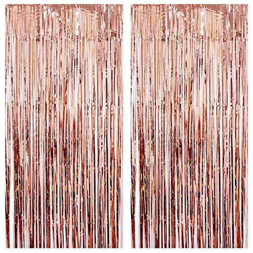 2 Stücke Rose Gold Lametta Vorhänge,Roségold Metallic Tinsel Folie Fringe Shimmer Fransen Tür Fenster Glitzer Vorhang,Metallische Hintergrund für Hochzeit Geburtstag Party Foto Booth Dekoration