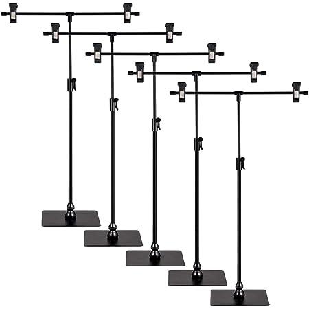 【2021年最新の改良版】POPスタンド ポップスタンド 販促用 長さ調節可能 簡単収納 組み立て式 広告 値札 T型 ブラック(レバー式)(5個入り)