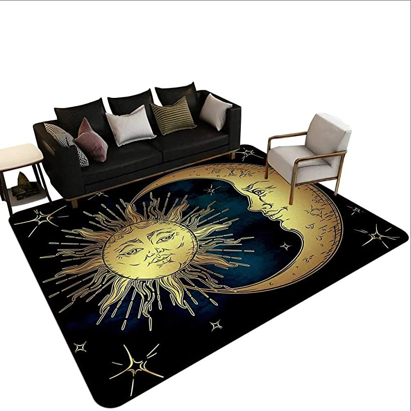 Rugs for Bedroom Psychedelic,Sacred Moon and Sun in Antique Style Lunar Myth Astrology Zen Art Print,Petrol Blue Yellow,Easy Clean Stain Fade Resistant for Living Room Bedroom Kitchen 6'x 8'