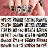 24pcs San Valentino Adesivi Unghie Decalcomanie, Kalolary 3D Trasferimento ad Acqua Adesivi Unghie Romantiche Decalcomanie per manicure per le donne Decorazione per unghie per ragazze(A)