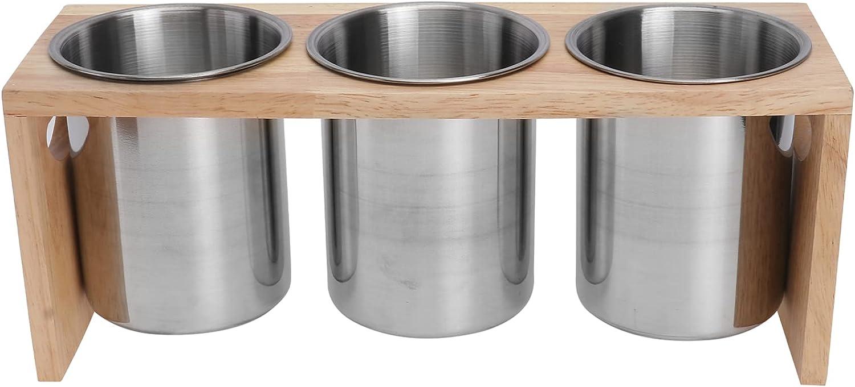 Toyvian Soporte de Palillos con Soporte de Madera Estante de Secado de Acero Inoxidable Cesta Utensilios de Cocina Caddy Organizador de Cubiertos para Restaurante Hogar