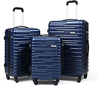 "Sandinrayli 3 Pcs ABS Luggage Set, Lightweight &Durable Travel Suitcase w/Spinner Wheel, 20"" Carry-On, 24"" & 28"" Hardside ..."