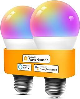 Refoss Bombilla LED Inteligente WiFi - Multicolor Regulable, Mando a distancia, 9W E27, 2700-6500 K, Compatible con Apple HomeKit, Alexa Echo y Google Home Paquet de 2