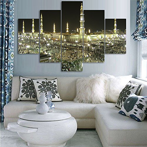 5 Piece Wall Decor Islamic Painting on Canvas Pictures of Hajj Pilgrimage to Kabah Jerusalem Modern Muslim Artwork Prints for Living Room Home Decor Wooden Framed Stretched Ready to Hang(60''Wx40''H)