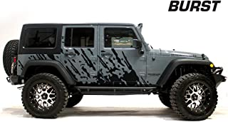 Factory Crafts Burst Side Graphics Kit 3M Vinyl Decal Wrap Compatible with Jeep Wrangler 4 Door 2007-2016 - Matte Black