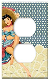 Switch Plate Outlet Cover - Retro Collage Girl Pin Up Sexy Hat Fashion Lady