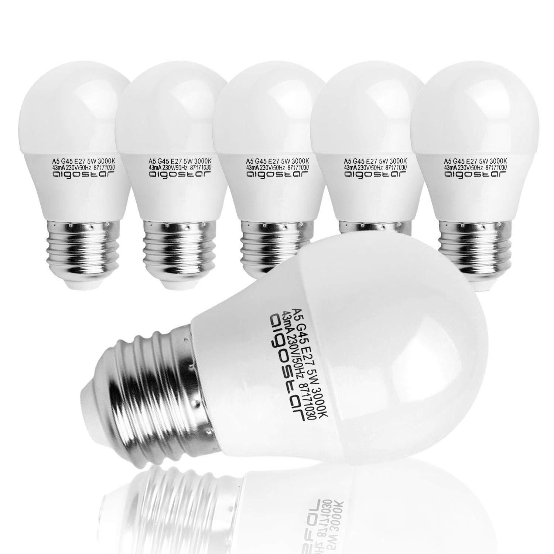Aigostar - Bombilla LED A5 G45, E27, 5 W Ahorro de energía, 400lm, Luz calida 3000K, Bajo consumo, no regulable - 5 unidades: Amazon.es: Hogar