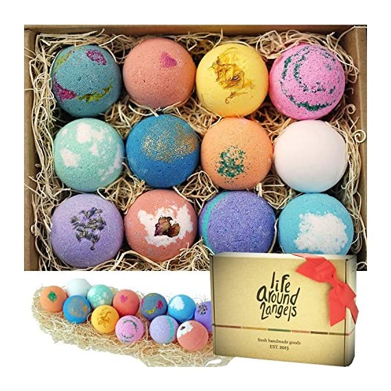 LifeAround2Angels-Bath-Bombs-Gift-Set-12-USA-made-Fizzies-Shea-Coco-Butter-Dry-Skin-Moisturize-Perfect-for-Bubble-Spa-Bath-Handmade-Birthday-Mothers-day-Gifts-idea-For-HerHim-wife-girlfriend