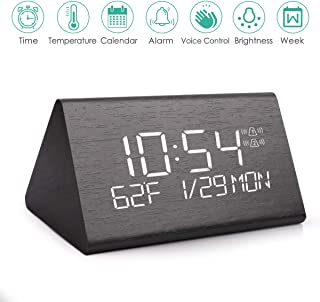 Wooden Digital Alarm Clock, 2019 Updated Voice Command Electric LED Bedside Travel Triangle Alarm Clock, Display Time Date Week Temperature for Office & Home