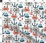 Meer, Ozean, Schiff, Krabbe, Leuchtturm, Sommer Stoffe -