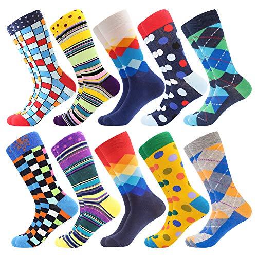 Bonangel Men's Fun Dress Socks - Colorful Funny Novelty Crazy Crew Socks Packs with Cool Argyle Pattern (Blue Yellow-Pattern 16)