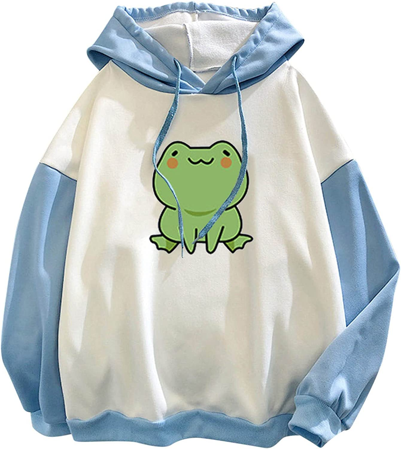 Kanzd Cute Frog Hoodie for Teen Girls Woemn Casual Loose Fit Frog Print Sweatshirts Pullover Patchwork Long Sleeve Tops