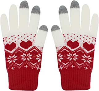 Men Women Girls Cute Snowman Touch Screen Warm Winter Knit Gloves Soft Snowflake Mittens for Phones iPad Laptop