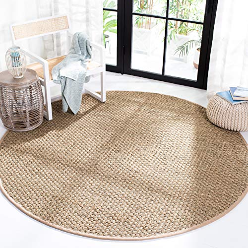 Safavieh Natural Fiber Collection NF114A Basketweave Natural and Beige Summer Seagrass Round Area Rug (5' Diameter)