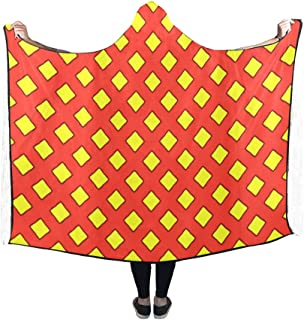 YIJIEVE Hooded Blanket Pattern Yellow Red Squares Superman Design Blanket 60x50 inch Comfotable Hooded Throw Wrap