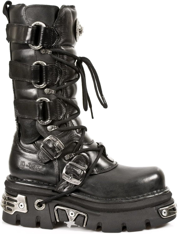 el más barato New Rock Metallic Negro Negro Negro Cuero botas M.474-S1  nuevo estilo