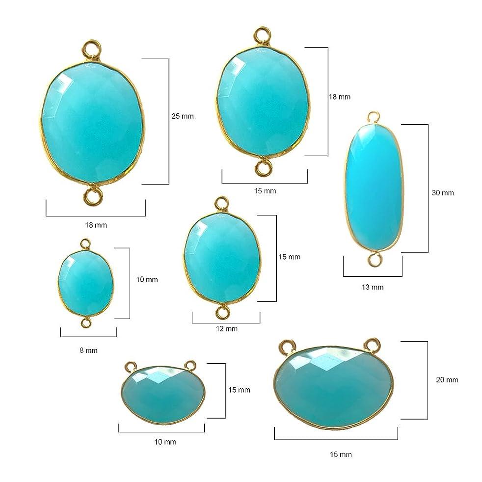 4 Pcs Blue Chalcedony Oval Beads 10X15mm 24K gold vermeil by BESTINBEADS, Blue Chalcedony Hydro Quartz Oval Pendant Bezel Gemstone Connectors over 925 sterling silver bezel jewelry making supplies