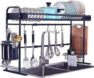 Rangement de cuisine - Égouttoir à vaisselle réglable en acier inoxydable noir - Organiseur de rangement avec porte-ustens...